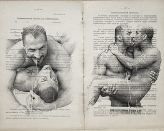 Erotic Gay poster  / Muscle mens love / nude   mens  / 2 pages Printing Antique  book  decor interior picture ART erotic souvenir