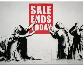 Sale Ends Today Banksy Graffiti Spray Painting Stenciling Technique Dark Humour Canvas Print Giclée Gallery Wrap Free Shipping 40% OFF SALE