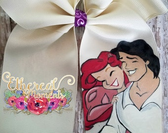 Ariel and Eric Valentine's day fun, hand painted cheer bow, painted hair bow, cosplay, dress up fun, girls accessory, hair accessory
