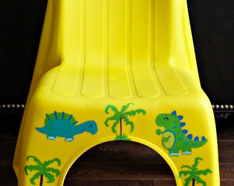 Personalized Kid's Plastic Chair DINOSAUR Theme - Heavy Duty for Boys or Girls - Pick your color