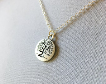 Silver Tree of Life Necklace, Meditation Pendant Yoga Jewelry, Sterling Silver Chain, Stamped Charm Tree Jewelry