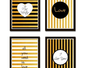 Set of 4 Prints, Gold Typographic decor, love posters, Valentine's Day, inspirational love print, gold background, I love you Poster *5*