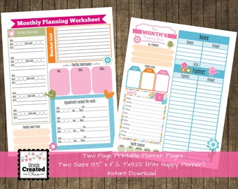 Printable Planner Inserts & Tracking Sheets 2 pages