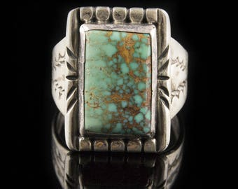 Handmade Navajo Sterling Silver Nevada Turquoise Ring