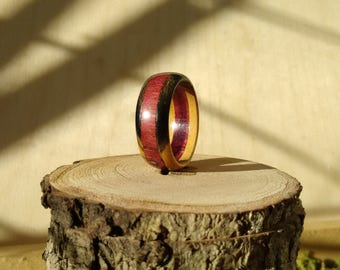 Black and White Ebony Wooden Ring Purple Heart inlay