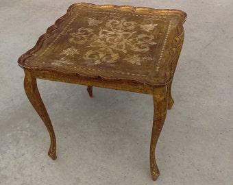 Vintage Italian Florentine Wood Table