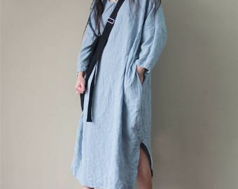 Women Leisure Cotton Dress, Comfortable House Dress, Plus Size Clothing, Blue Dress, Asymmetrical Tunic Dress, Linen Long Dress