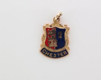 Vintage 9 carat yellow gold and enamel Chester shield pendant charm
