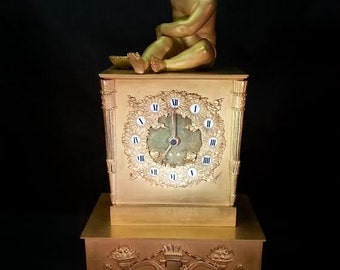 French Bronze Mantle Clock Silk Supension Signed Cailly Circa 1840