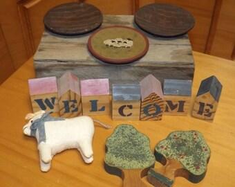 Primitive wood and ceramic deco