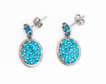 Bright Blue CZ & Sterling Silver Oval Dangle Cluster Earrings, VJ #754