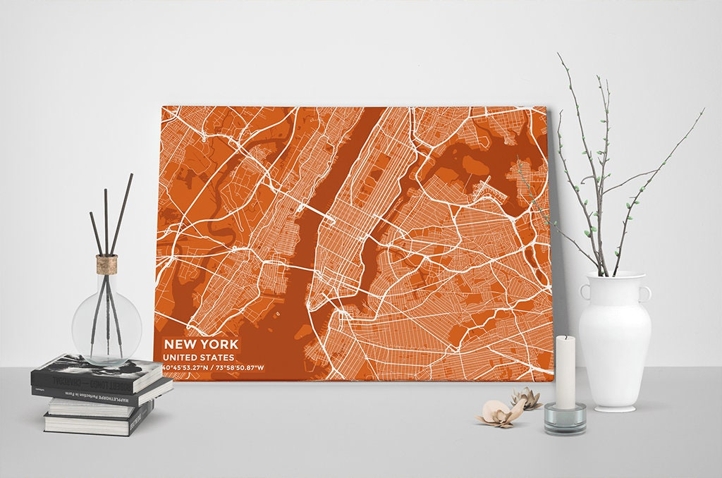 Gallery Wrapped Map Canvas Of New York United States Subtle - Us map canvas