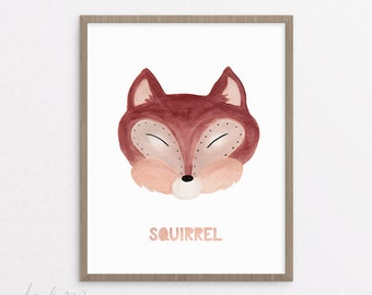 Squirrel Nursery Print - Squirrel Print - Nursery Art - Printable - Kids Squirrel Art - Baby Gift - Instant Download 8x10