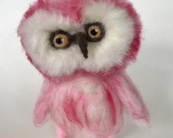 Needle felted pink owl