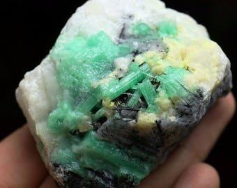Emerald with Quartz and Black Tourmaline Mineral Specimen