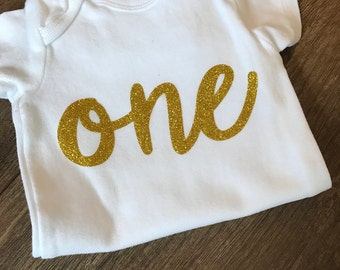 Gold ONE birthday bodysuit