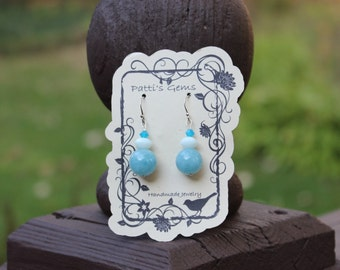 Blue Jadeite, White Jade & Blue Swarovski Crystal SS Earrings