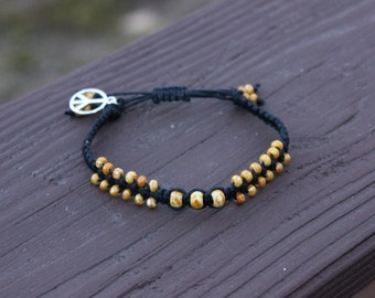 Beaded Black Hemp Bracelet