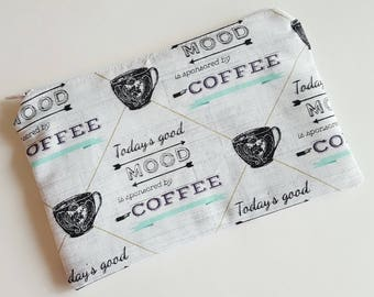 Coffee zipper bag, travel storage, coffee print, zipper pouch, makeup bag, cosmetic bag, craft storage, pencil pouch, lined zipper pouch