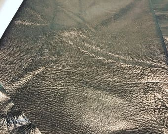 Pewter Metallic Leather: Natural Grain Cow Leather 2.5-3.0 oz (1.1 - 1.3 mm). Perfect for Handbags, Shoes, Garments, Crafts, Jewelry