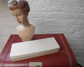 Beautiful Vintage Glove Box Beige Vinyl Mint Condition