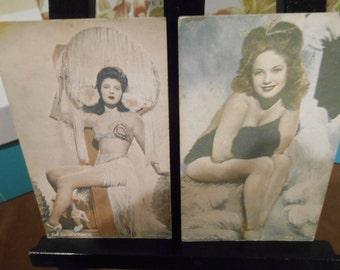 Pair of Earl Carroll's Vanities Arcade Exhibit Cards Vintage Antique 1940s Pin Up