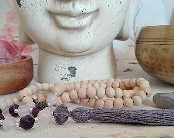 Japamala 108 grains/Yoga Mala necklace/Rose Quartz/Amethyst/yoga 108 beads necklace/pink quartz/amethyst