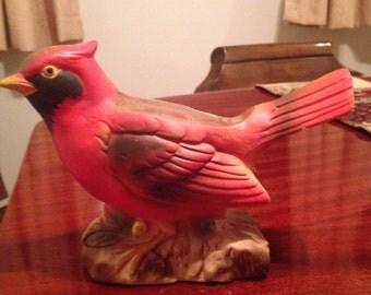 Vintage cardinal bird planter