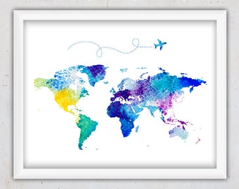 watercolor world map print nursery world map print world map watercolor printable digital - Kids Wall Decor