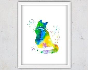 Watercolor Room Decor, Wild Cat Print, Nursery Poster, Kids Wall Print, Animal Digital Download  Print, Cat Watercolor Wall Art Printable