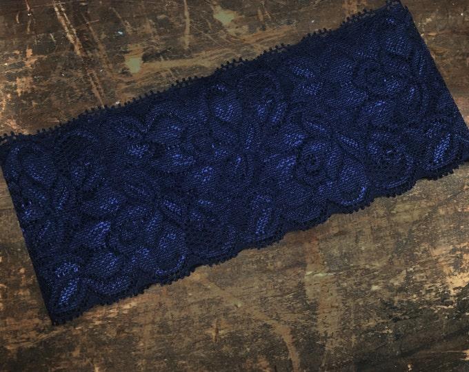 Navy wedding garter simple garter stretchy custom wedding garter rustic Lace, Something Blue