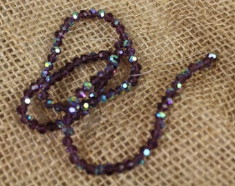 """4mm Amethyst Glass Faceted Bead w AB Finish on 13"""" Strand- Estate Sale - #604"""