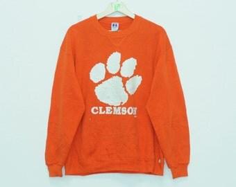 Vintage Clemson Sweatshirt Unisex Clothing Awesome Wear Orenge Clothing Streetwear Men Wear Women Wear Extra Large Size