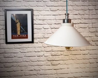 Hand made industrial 380mm white pendant light