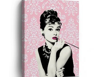 Audrey Hepburn Lace Background Pink Pop Art Canvas Print / Breakfast at Tiffany's / Gallery Wrapped Canvas Art Stretched / Ready to Hang