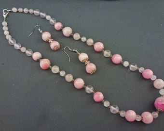 Pink Venetian and Quartz Bead Necklace & Earrings