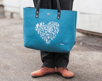 blue wool felt shopper bag with embroidery and handles of genuine leather