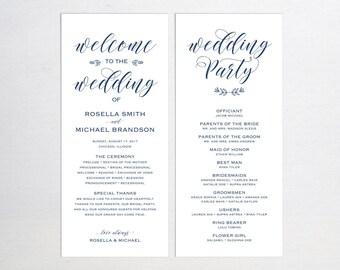 Navy Blue Wedding Program Template, Wedding Ceremony Program, Printable Programs, Kraft Wedding Program, fan, PDF Instant Download, WPC_257