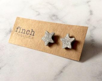 Silver star stud earrings, handmade polymer clay