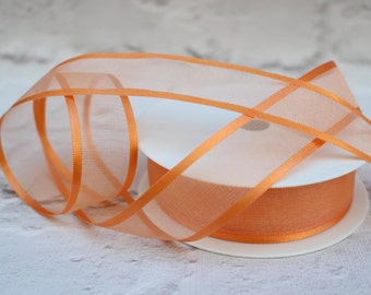 Organza Ribbon, 1 Meter Sheer Satin Edge Organza Ribbon, 25mm Orange Ribbon, Wedding Decor, Christmas Ribbon, Gift Wrap, Etsy Shop Supplies.