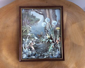 Vintage Framed Dufex Foil Print - Jean Henry Fairy Fantasy, The First Meeting