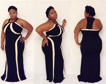 Plus Size Black and Tan Striped Maxi Dress 1X 2X 3X