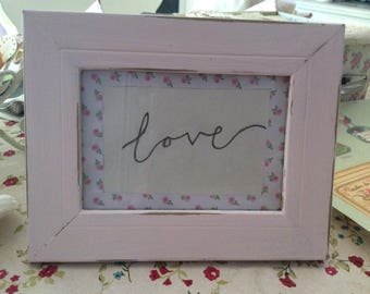 Shabbychic handwritten Love picture distressed Photo Frame/ Chippy paint