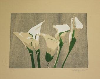 Calla lilies, flowers, woodcut and silkscreen