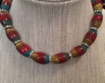 Multi Color Beaded Necklace w/Stud Accent