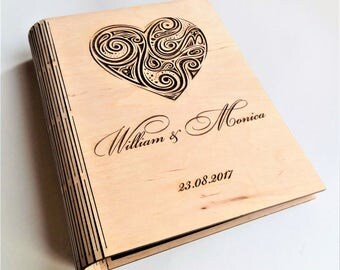 Personalised Guest Book Wooden Guest Book Rustic Guest Book Anniversary Gift Wedding Guest Book Laser Engraved Birthday Book Memory Book