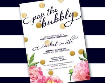 Peony + Confetti Bridal Shower Invitation
