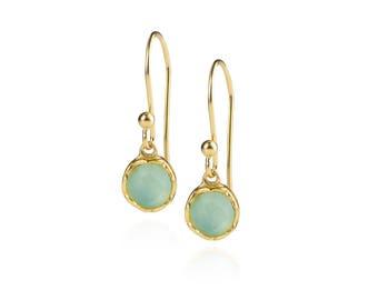 Dosha Earrings - Gold - Aqua Chalcedony