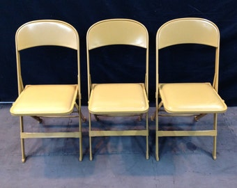 Vintage Yellow Clarin Folding Chairs