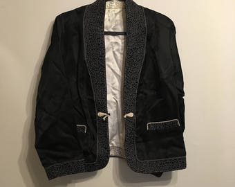 Vintage Reversible Black/White Silk Blazer